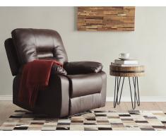 Sillón reclinable en piel marrón BERGEN