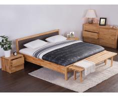 Cama de madera - Somier 180 x 200 - Cabecero tapizado en marrón - CARRIS