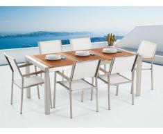 Conjunto de jardín mesa en madera 180 cm, 6 sillas blancas GROSSETO