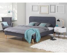 Cama tapizada – Tela - 180x200 cm – Tamaño extra grande - Gris – RENNES