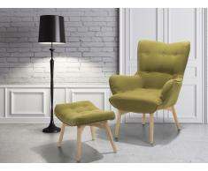 Butaca - Verde oliva - Sillón tapizado - Reposapiés - VEJLE