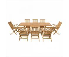 Conjunto de jardín - Mesa de madera dura - 8 sillas - JAVA