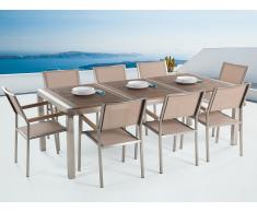 Conjunto de jardín - Tablero de madera acacia - Mesa 220 cm con 8 sillas beige - GROSSETO