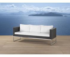 Sofá de jardín - 3 plazas - Ratán y acero - CREMA