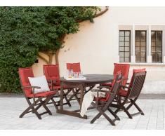 Conjunto de jardín de madera – Mesa – 6 sillas con apoyabrazos – Cojines en color terracota - MAUI