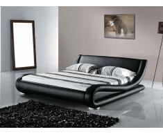 Cama de piel - 160x200 cm - Color negro - Con somier - AVIGNON