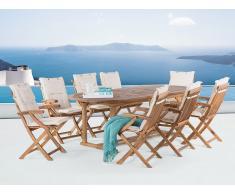 Conjunto de jardín de madera – Mesa - 8 sillas con apoyabrazos - cojines en color beige – JAVA