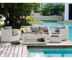 Conjunto de jardín en ratán blanco - Sofá - 2 Butacas - Reposapiés - Mesa - ROMA