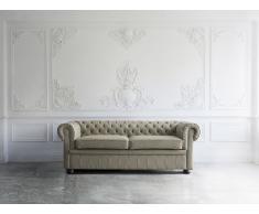 Sofá 2 plazas en piel color gris pardo CHESTERFIELD