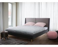 Cama tapizada en beige oscuro y gris 180x200 cm VALENCE