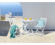 Conjunto de jardín de madera - Mesa - 2 sillas - FIJI blanco
