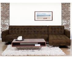 Sofá cama esquinero en piel sintética marrón, versión izquierda ABERDEEN
