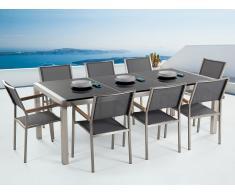 Conjunto de jardín mesa con tablero de piedra natural negro pulido 220 cm, 8 sillas grises GROSSETO