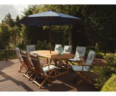 Conjunto de jardín en madera de acacia Mesa + 8 sillas cojines color azul claro con sombrilla MAUI