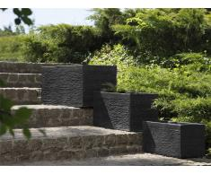 Maceta rectangular negra 50x23x24 cm MYRA