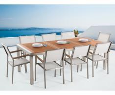 Conjunto de jardín mesa en madera 220 cm, 8 sillas blancas GROSSETO