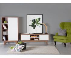 Cómoda - mueble de salón en MDF - marrón y blanco - INDIANAPOLIS