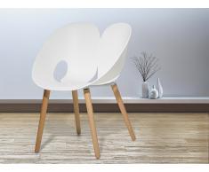 Silla de diseño - Plástico con madera de haya - Color blanco - MEMPHIS