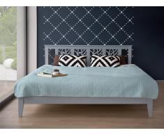 Cama de madera en color gris 180x200 cm CALAIS