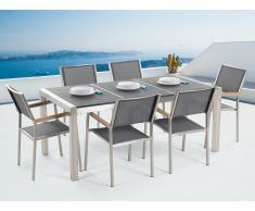 Conjunto de jardín - Granito curtido negro - Mesa 180 cm con 6 sillas gris - GROSSETO