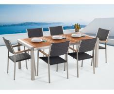 Conjunto de jardín mesa en madera 180 cm, 6 sillas en ratán GROSSETO
