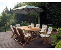 Conjunto de jardín de mesa y 8 sillas con almohadas beige-verde y sombrilla gris MAUI