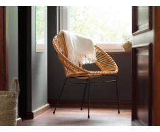 Conjunto de 2 sillas de ratán amarillas SARITA