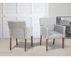 Silla tapizada - Butaca - Color gris claro - ROCKEFELLER