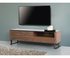 Mueble TV - Vidrio templado - Color marrón - ELVAS