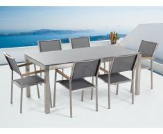 Conjunto de jardín - Granito gris una placa - Mesa 180 cm con 6 sillas grises - GROSSETO
