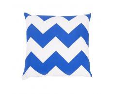 Cojín decorativo con zigzag azul-blanco 40x40 cm