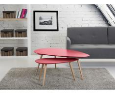 Mesas auxiliares - Mesas nido - 2 piezas - Color rojo - FLY