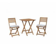 Conjunto de jardín de madera - Mesa - 2 sillas - Cojines gris beige zigzag - FIJI