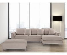 Sofá esquinero tapizado en beige con reposapiés izquierdo OSLO