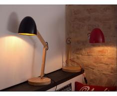Lámpara de mesa - Iluminación de noche - Madera y aluminio - Rojo - VELEKA