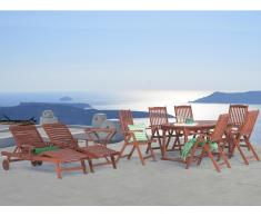 Conjunto de jardín de madera - 1 mesa ovalada - 1 mesa auxiliar - 6 sillas - 2 tumbonas - TOSCANA