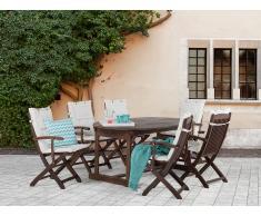 Conjunto de jardín de madera – Mesa – 6 sillas con apoyabrazos – Cojines en color beige - MAUI
