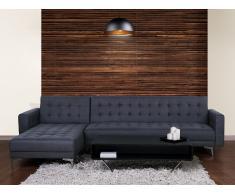 Sofá esquinero - Sofá cama - Tapizado - Gris / Azul - ABERDEEN