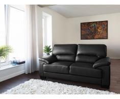 Sofá negro - Canapé de piel - 2 plazas - VOGAR