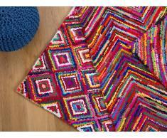 Alfombra de Algodón - multicolor - Pelo largo- 140x200 cm - Hecha a mano - KAISERI