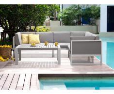 Conjunto de jardín en aluminio -Seccional - Blanco - Gris - VINCI