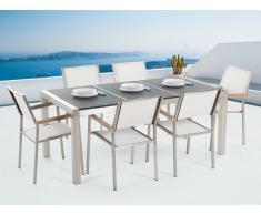 Conjunto de jardín mesa con tablero negro de piedra natural 180 cm, 6 sillas blancas GROSSETO