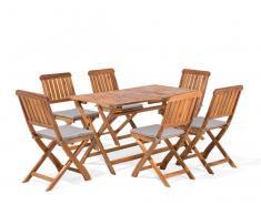 Conjunto de jardín en madera de acacia, Mesa con sillas CENTO