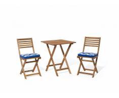Conjunto de jardín de madera - Mesa - 2 sillas - Cojines azul blanco zigzag - FIJI