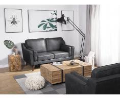 Sofá 2 plazas imitación del cuero gris LOKKA