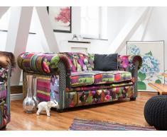 Sofá Chesterfield - Tapizado - Multicolor - Violeta - CHESTERFIELD