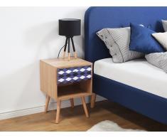 Mesa de noche de madera con cajón, marrón, DENVILLE