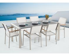 Conjunto de jardín mesa con tablero gris de piedra natural pulido 180 cm, 6 sillas blancas GROSSETO