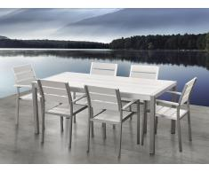 Conjunto de jardín en aluminio - Mesa y 6 sillas blanco - VERNIO