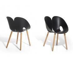 Silla de diseño - Plástico con madera de haya - Color negro - MEMPHIS